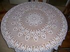 """Vintage Handmade Crocheted Lace Tablecloth Pineapple Pattern White Round 65"""""""