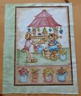 FABRIC Cotton Green Spring Garden Flowers Dog Quilt Block Square Panel Pillow #1