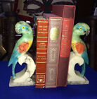 Genuine Alabaster Hand Carved Made in Italy Parrots With Glass Eyes Bookends