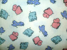 Vtg Pastel Elephants Hipo Giraffe Fabric  Animals Baby Nursery 44