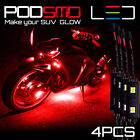 Red Motorcycle LED Lighting Strips Kit Engine-Bay Flexible Bright 12V Powered