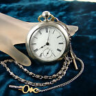 1883 Waltham Broadway Pocket Watch 18s, 7 Jewel, Key Wind, Chain, Runs E2865