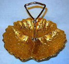 Vintage Weeping Bright 3 Compartment Candy Dish - 22K Gold Hand Decorated