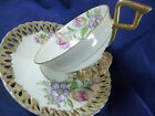 PRINCESS TEA CUP AND SAUCER RETICULATED SAUCER & FOOT PASTEL SPRING FLORAL GOLD