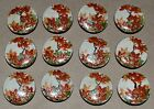 "Set 12 Satsuma Hand Painted 1"" Buttons Gold Orange Green Leaves Japanese Antique"