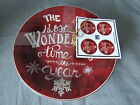 222 FIFTH 4 Red Appetizer Plates The Most Wonderful Time Of Year Christmas Tunes