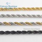 2430Men stainless steel Gold Silver Black 5mm wheat rope Necklace Chain link