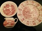 Alfred Meakin Brown Tonquin Cream Pitcher, Bowl, & 1973 Plate All Hand Engraved