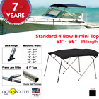 BIMINI TOP 4 Bow Boat Cover Black 61 66 Wide 8ft Long With Rear Poles