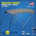 BIMINI TOP 4 Bow Boat Cover Gray 90 96 Wide 8ft Long With Rear Poles