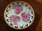 Royal Sealy China Vintage Saucer Japan Pink Iris Reticulated with Gold Trim
