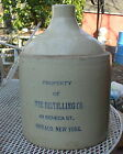 ANTIQUE STONEWARE WHISKEY JUG~BLUE DECORATED ADVERTISEMENT~