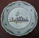 French Pottery faience plate - village farming scene - 9