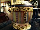 American Atelier TUSCANY VILLAGE #5353 Teapot  Multicolor with Blue Trim