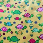 Turtles Mushrooms  Flowers On Yellow Polar Fleece Fabric BY THE YARD