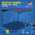 BIMINI TOP 3 Bow Boat Cover Blue 73 78 Wide 6ft Long With Rear Poles