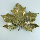 A VINTAGE SOLID THICK BRASS BEAUTIFULLY MADE  LEAF SHAPED TRAY ON THREE LEGS