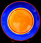 DANSK CARIBE HAND-PAINTED DINNER PLATE BAHAMA BLUE  & ORANGE RED & YELLOW RINGS
