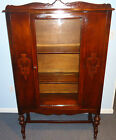 LARGE VINTAGE CURIO CABINET DISPLAY CASE HUTCH WOOD GLASS CARVED LEGS~3 SHELVES