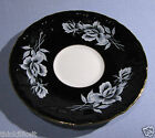 VINTAGE 1960's AYNSLEY ORPHAN TEA CUP SAUCER ~ EMBOSSED BLACK WITH WHITE ROSES