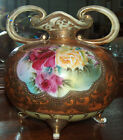 p7223: Antique Signed NIPPON Large Vase Beaded w/ Roses Gilt Blue Maple Leaf