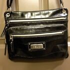 Relic Black Faux Croc Cross Body Organizer Shoulder Bag Silver Zippers