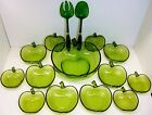 Hazel Atlas Orchard Glass Green Apple 3 Qt. Salad Bowl & 6 Cereal & 6 Fruit Set