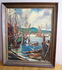 Oil on Canvas Painting Original Signed Birkhaug Norway Fishing Village Sailboats