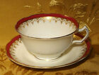 GEORGE JONES CRESCENT CHINA CUP & SAUCER MAROON RIM and GOLD BEADING