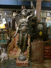ANTIQUE FRENCH PATINATED BRONZE STATUE FIGURINE EMPIRE ANGEL 19TH C.MARBLE BASE