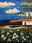 Large Oil Painting of Seascape Beach Scene Palm Tree House by Sea 36x48
