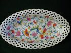 GERMAN PORCELAIN OVAL SHAPED DISH/TRAY WITH PIERCED RIM, PAINTED PASTEL FLOWERS