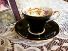 1930s AYNSLEY ENGLAND BLACK TEACUP CORSET HAND PAINTED GRAPE VINE CUP AND SAUCER
