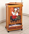 FAT ITALIAN CHEF WOODEN KITCHEN GARBAGE TRASH BIN w LID & Storage Rolling Can