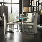 4 Chair Dining Room Set Chrome White LED Light Round Table Kitchen Glass Top