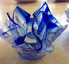 2 beautiful Art Deco vintage cobalt blue veined funky glass candy bowls. Unusual