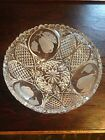 Stunning Crystal Tripod Footed Etched Grape&Pear Fruit Bowl/Dish! EXCELLENT COND