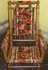 VINTAGE WOODEN SPINDLE ROCKING CHAIR (1950'S CLOTH BACK,ARMS & SEAT)