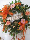 WELCOME Spring Summer Easter Mother's Day Orange Pink Door Wreath Free Shipping