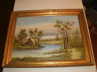 BEAUTIFUL ANTIQUE LARGE VERY ORNATE GOLD FRAME WITH OLD ON CANVAS 25 7/8