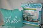 COZUMEL COASTAL STRIPE QUILT SET *4 PC F/Queen* Tropical Nautical Aqua Teal Lime