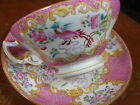 MINTON ANTIQUE TEA CUP AND SAUCER COCKATRICE PINK ROCCO H.P. PAINTED c1873 ~RARE