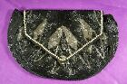 VINTAGE 1920s - 1940s BEADED PURSE/EVENING BAG  HAND STRAP BUGLE/SEED BEADS