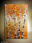 Landscape Original Abstract Painting.Palette Knife.Autumn Birch Forest by Nata S