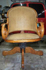 VINTAGE WOODEN OFFICE ARMCHAIR WITH CANE SEAT & BACK - EARLY 20TH CENTURY