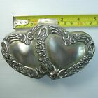 SOLID SILVER TONE/PLATED METAL HINGED BOX  WITH TWO HEARTS CLOSE TOGETHER ON LID