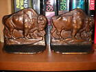ANTIQUE SIGNED BRONZE BUFFALO BISON BOOKENDS GREAT ORIGINAL PATINA WESTERN