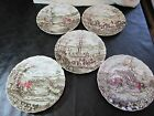 "Vintage Set of 5 different 10 ½"" Johnson Bros Tally Ho Dinner Plates, England"