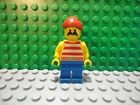 Lego mini figure Pirate with red cap red striped shirt and blue legs