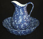 Blue Calico Pitcher & Bowl Set Crownford China Staffordshire England Wash Basin